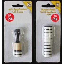 Ink applicator mini rond Ø2cm + reserve foams 10 pcs.