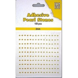 Adhesive Pearls, 2mm, 150 pcs,3 col. yellow/gold
