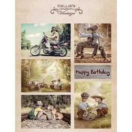 Nellie's Choice - A4 Cardtoppers Sheet - Nellie's Vintage - Birthday Boys