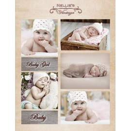 Nellie's Choice - A4 Cardtoppers Sheet - Nellie's Vintage - Baby Girl