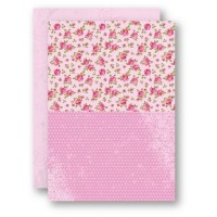 A4 Background Sheets - Roses, pink, nr.08