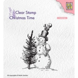 Clear Stamp Christmas Time - Snowman with tree