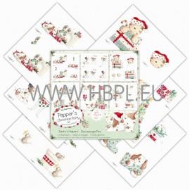 Glittered Decoupage Pad - Santas Helpers, 6 sh