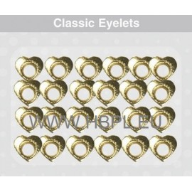 Eyelets - Hearts gold, 26 pcs, O4 mm