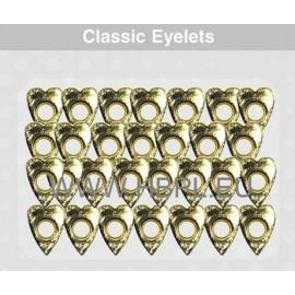 Eyelets - Distorcion Hearts gold, 26 pcs, O4 mm
