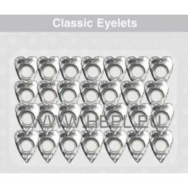 Eyelets - Distorcion Hearts silver, 26 pcs, O4 mm