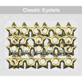 Eyelets - Stars gold, 26 pcs, O4 mm