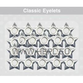Eyelets - Stars silver, 26 pcs, O4 mm