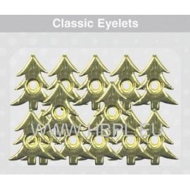 Eyelets - Christmas trees gold, 26 pcs, O2 mm
