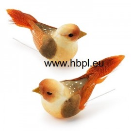 Decorations styropor birds orange shades 5CM / 2 PC
