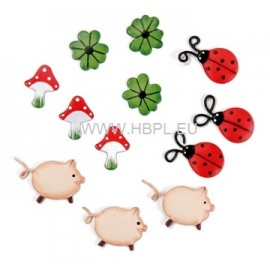 Decorations metal lucky assortm. small 2CM / 12 PC