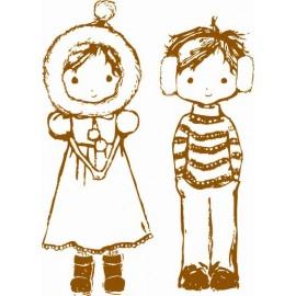 Clear stamps J&J boy & girl winter