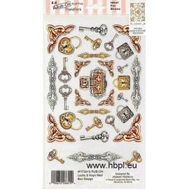 Rub-on transfers - Locks & Keys med box design, 24x14 cm