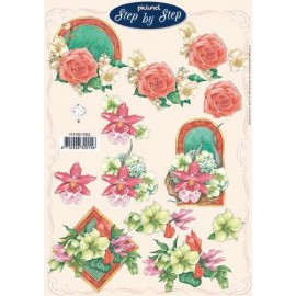 Kars & Co. - A4 Cutting Sheet - 3D Step by Step - Frame Rose