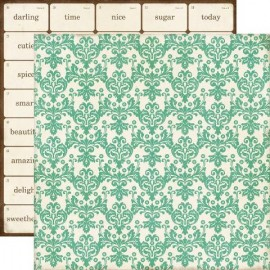 Echo Park Paper Co. - This & That Collection - Teal Damask, 30x30 cm