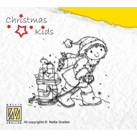 Clear Stamps Christmas Kids - helping Santa