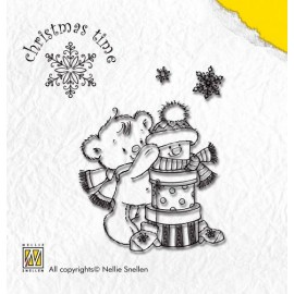 Clear stamp Christmas Time , Present bear, 5,5X5CM