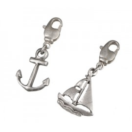 Charm Pendant set , anchor sail boat, 2 pcs