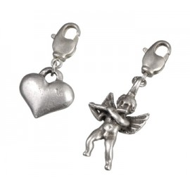Charm Pendant set , angel, heart , 2 pcs