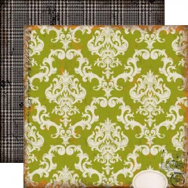 Echo Park Paper Co. - Chillingsworth Manor Collection - Green Damask, 30x30 cm