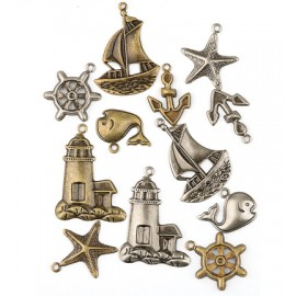 Metal Charms - Maritime, 12 pcs.