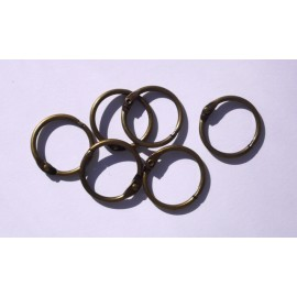Book Binding Rings - Antique Brass, 4,5 cm / 6 pcs.