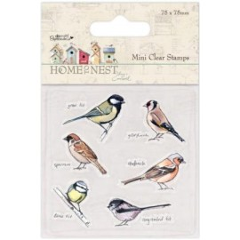 Mini Clear Stamp - Home To Nest - Birds, 7,5 x 7,5 cm