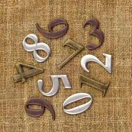 Vintage Trinkets - Number Shapes, 10 pcs, 2,5 cm