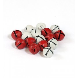 Christmas Bells - Red & White, 8mm x 16 pc.