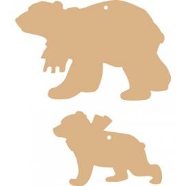 MDF 2 Polar Bears,15,5 x 10,1 cm, 10,9 x 7,5 cm