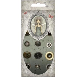 Santoro Mirabelle Antique Style Metal Buttons, 12 pcs.