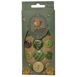Santoro Mirabelle Wooden Buttons - Adrift, 12 pcs.