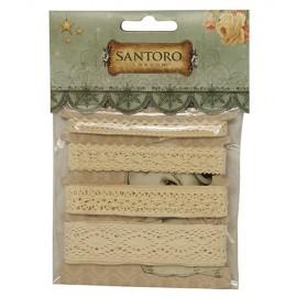 Santoro Mirabelle 100% Cotton Lace Ribbons, 4x1 m