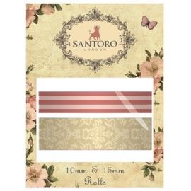 Santoro Mirabelle Washi Tape - Pink, 2 spools (10mm & 15mm), 8m