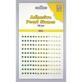 Adhesive Pearls, 3mm, 150 pcs,3 col. green
