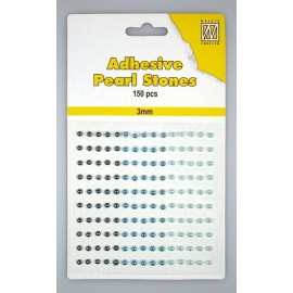 Adhesive Pearls, 3mm, 150 pcs,3 col. blue