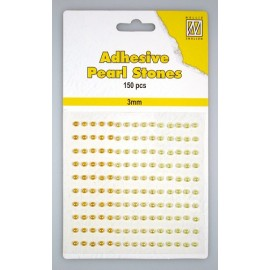 Adhesive Pearls, 3mm, 150 pcs,3 col. yellow/gold