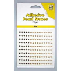 Adhesive Pearls, 3mm, 150 pcs,3 col. brown