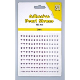 Adhesive Pearls, 3mm, 150 pcs,3 col. purple