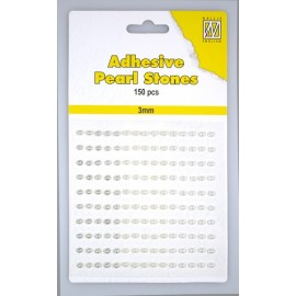 Adhesive Pearls, 3mm, 150 pcs,3 col. white