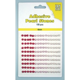 Adhesive Pearls, 4mm, 150 pcs,3 col. red