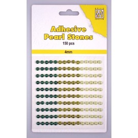 Adhesive Pearls, 4mm, 150 pcs,3 col. green