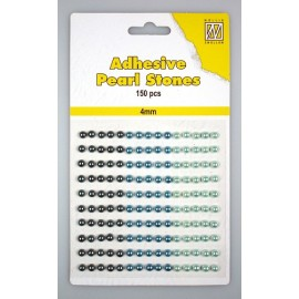 Adhesive Pearls, 4mm, 150 pcs,3 col. blue