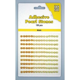 Adhesive Pearls, 4mm, 150 pcs,3 col. yellow/gold