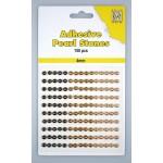 Adhesive Pearls, 4mm, 150 pcs,3 col. brown