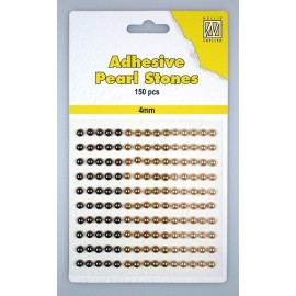 Adhesive Pearls, 4mm, 150 pcs,3 col. brown