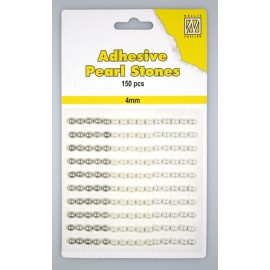 Adhesive Pearls, 4mm, 150 pcs,3 col. white