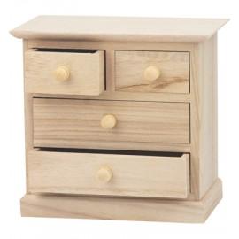 Wooden 4 Drawer Chest, 17 x 16 x 9 cm