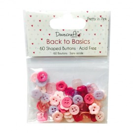 Buttons - Back to Basics - Pretty in Pink, 60 pcs