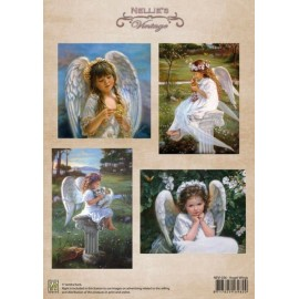 Nellie's Choice - A4 Cardtoppers Sheet - Nellie's Vintage - Angel Wings
